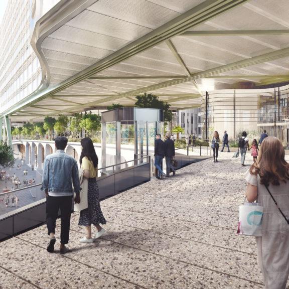 A publicly-accessible garden promenade
